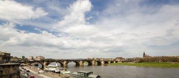 Vista del fiume Elba a Dresda Immagini Stock