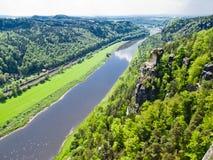 Vista del fiume Elba, Sassonia, Germania Fotografia Stock Libera da Diritti