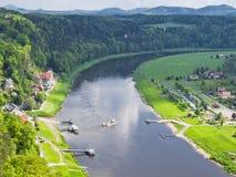 Vista del fiume Elba, Sassonia, Germania Immagine Stock Libera da Diritti