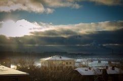 Vista del fiume Ob'in Siberia nell'inverno dentro in città Immagine Stock Libera da Diritti
