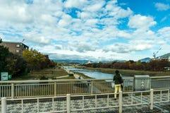Vista del fiume a Osaka, Giappone fotografie stock