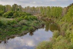 Vista del fiume siberiano Vagai di taiga Paesaggio della sorgente immagine stock libera da diritti