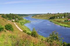 Vista del fiume Volga, regione di Tver', Russia Immagine Stock