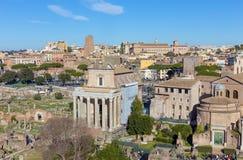 Vista del foro Romanum Roman Forum, Roma, Italia Fotos de archivo libres de regalías