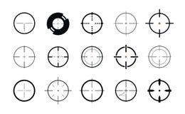 Vista del francotirador, símbolo Retículo, sistema de la blanco de iconos Ilustración del vector ilustración del vector