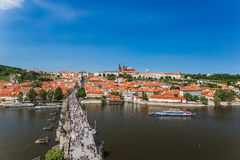 Vista del frome Charles Bridge Tower Praha di Praga Fotografia Stock Libera da Diritti