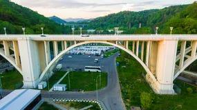 Vista del fuco del viadotto di Matsesta, Soci, Russia Immagine Stock Libera da Diritti