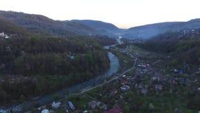 Vista del fuco del villaggio di Plastunka, Soci, Russia archivi video