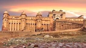 Vista del fuerte ambarino, Jaipur, la India Imagen de archivo libre de regalías