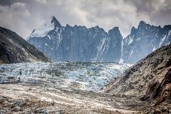 Vista del ghiacciaio di Argentiere, Chamonix-Mont-Blanc, Mont Blanc Massif, alpi, Fran Immagine Stock Libera da Diritti