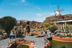 Vista del giardino del cactus con il mulino a vento bianco in Guatiza, attrazione popolare a Lanzarote, isole Canarie Immagine Stock Libera da Diritti