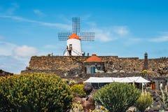 Vista del giardino del cactus con il mulino a vento bianco in Guatiza, attrazione popolare a Lanzarote, isole Canarie Fotografie Stock