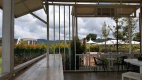 Vista del giardino dalla caffetteria fotografia stock