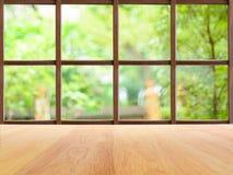 Vista del giardino dalla finestra di legno Fotografia Stock
