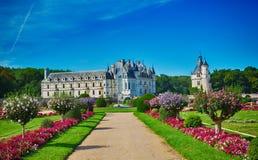 Vista del giardino di Chateau de Chenonceau Immagini Stock
