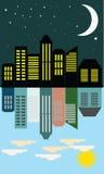 Vista del giorno e della notte della città nello stile piano Immagini Stock Libere da Diritti