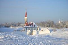 Vista del giorno gelido di gennaio del palazzo del priore Gatcina, regione di Leningrado Fotografia Stock