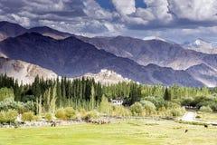 Vista del gompa di Thiksey attraverso la valle di Indus in Ladakh, India Fotografie Stock Libere da Diritti