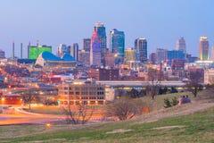 Vista del horizonte de Kansas City en Missouri foto de archivo libre de regalías
