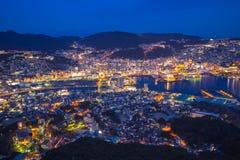 Vista del horizonte de la ciudad de Nagasaki del soporte Inasa en Japón Fotos de archivo libres de regalías