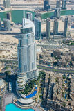 Vista del hotel de la dirección de Burj Al Khalifa, Dubai foto de archivo libre de regalías