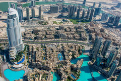 Vista del hotel de la dirección de Burj Al Khalifa, Dubai Imagenes de archivo
