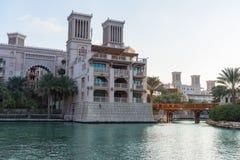 Vista del hotel de Madinat Jumeirah en Dubai Imágenes de archivo libres de regalías