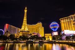 Vista del hotel y del casino de París Las Vegas en el nigth, LAS VEGAS, los E.E.U.U. Fotografía de archivo libre de regalías