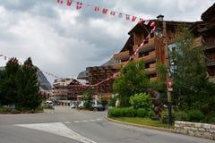 Vista del ` Isere, estación de esquí de Val d en Francia Imagenes de archivo