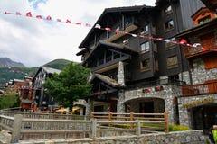 Vista del ` Isere, estación de esquí de Val d en Francia Foto de archivo