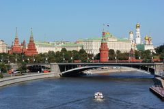 Vista del Kremlin rojo en Moscú Imagenes de archivo