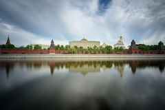 Vista del Kremlin y del terraplén del Kremlin Moscú, Rusia fotografía de archivo