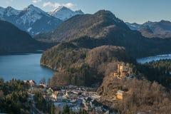 Vista del lago Alpsee nelle alpi bavaresi, Germania Fotografia Stock Libera da Diritti