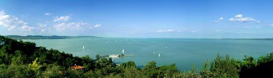 Vista del lago Balaton dall'abbazia di Tihany Fotografie Stock Libere da Diritti