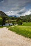 Vista del lago Bohinj en el parque nacional Eslovenia de Triglav foto de archivo