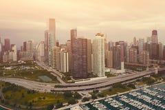 Vista del lago chicago foto de archivo libre de regalías