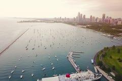 Vista del lago chicago fotos de archivo