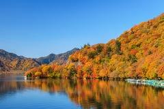 Vista del lago Chuzenji en la estación del otoño con agua de la reflexión adentro foto de archivo libre de regalías
