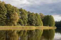 Vista del lago con gli alberi immagini stock libere da diritti