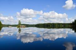 Vista del lago dalla Finlandia Fotografia Stock