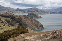 Vista del lago del titicaca fotografía de archivo