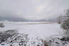 Vista del lago ghiacciato Abant Immagini Stock Libere da Diritti