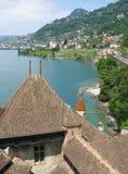 Vista del lago Ginevra dal castello di Shilonsky Fotografia Stock Libera da Diritti