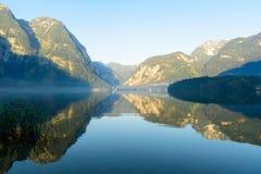 Vista del lago Hallstatt, Obertraun, Hallstatt, Austria fotografia stock