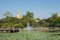Vista del lago Kandawgyi y de la pagoda de Shwedagon en Rangún Imagenes de archivo