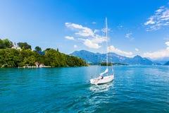 Vista del lago Lucerna Fotografia Stock
