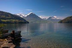 Vista del lago lucerne con le alpi svizzere in primavera Fotografia Stock Libera da Diritti