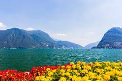 Vista del lago Lugano Fotografia Stock