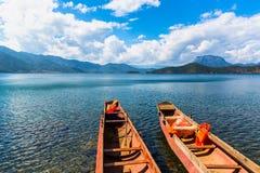 Vista del lago Lugu Fotografia Stock