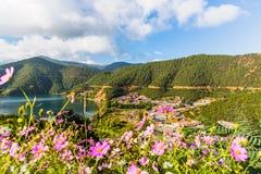 Vista del lago Lugu dalla cabina di funivia Fotografia Stock Libera da Diritti